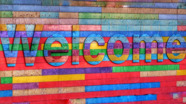 Multi-colored welcome sign