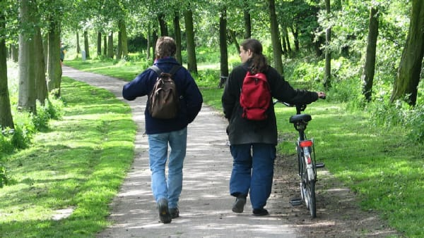 Two people, one wheeling a bike, walk along a park path
