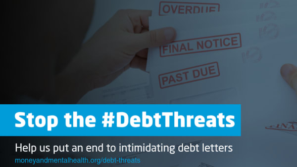 A close-up of final warning debt letters, with the text Stop the #DebtThreats